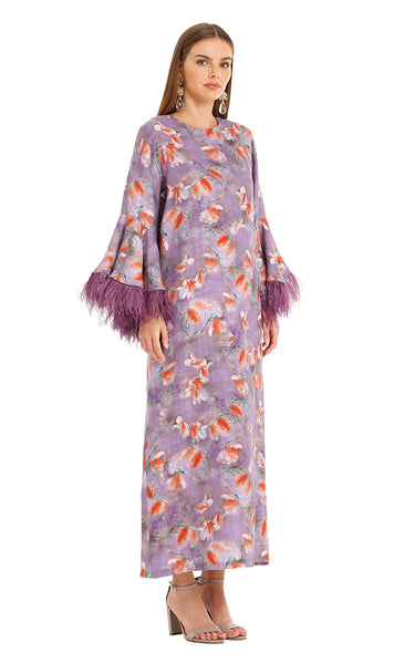 PURPLE FEATHER CAMELIA KAFTAN