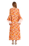 ORANGE FEATHER CAMELIA KAFTAN