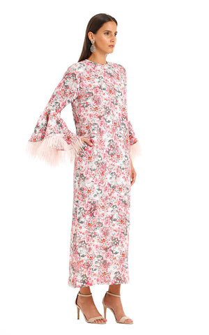 PINK FEATHER CAMELIA KAFTAN
