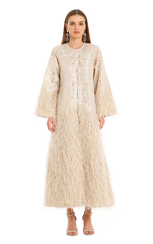 BEIGE FEATHER ISABELLA KAFTAN