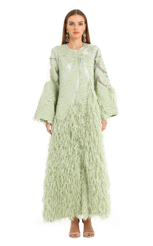 GREEN LILLY FEATHER KAFTAN