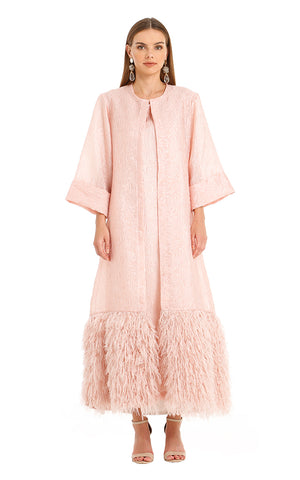 PINK LILLY FEATHER KAFTAN