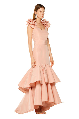 Blush Ruffle Flower Gown