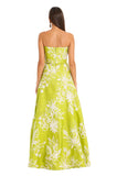 LIME GREEN FLORAL A LINE GOWN