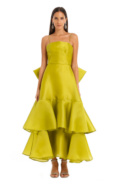 OLIVE ORGANZA DOUBLE RUFFLE DRESS