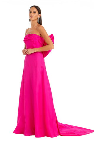 FUCHSIA A LINE BACK BOW GOWN