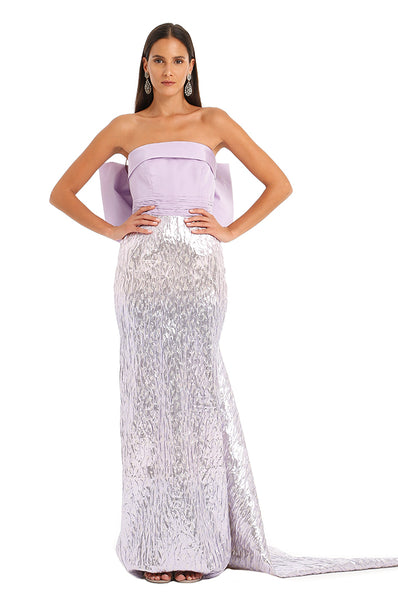 LAVENDER METALLIC BOW GOWN