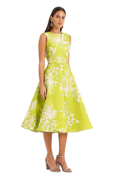 LIME GREEN FLORAL MIDI DRESS