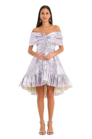 LAVENDER METALLIC MINI DRESS