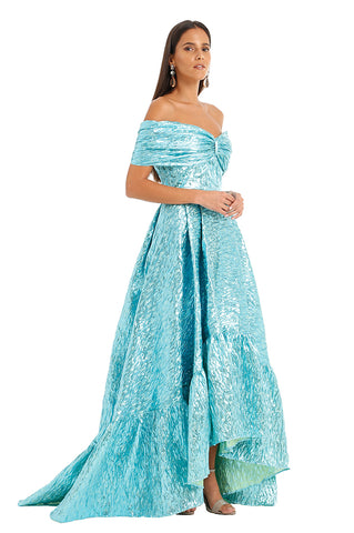 BLUE METALLIC OFF SHOULDER GOWN