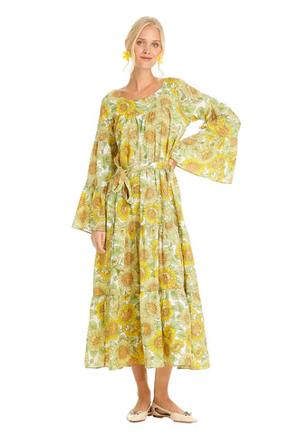 YELLOW SUNFLOWER COTTON KAFTAN