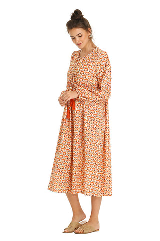 ORANGE CONCHA MIDI KAFTAN