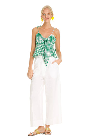 GREEN GINGHAM BOW TOP