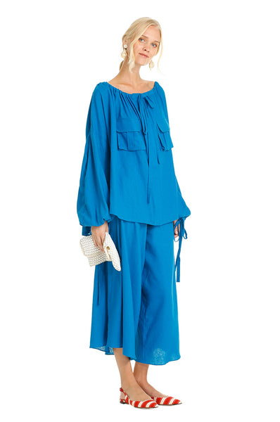Blue Linen Pleated Midi Culottes