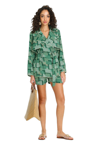GREEN TRENCH BLOUSE
