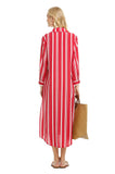 RED STRIPED SHIRT DRESS