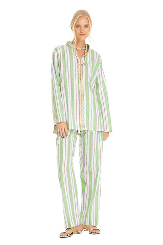 GREEN STRIPED ORIENTAL SHIRT