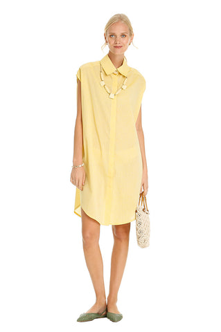 Yellow Lino Midi Shirt Dress