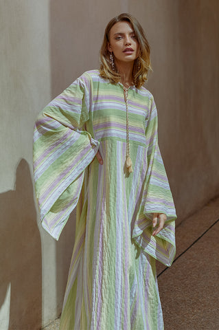 Green Striped Mosa Kaftan
