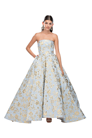 Blue Gold Cinderella Gown