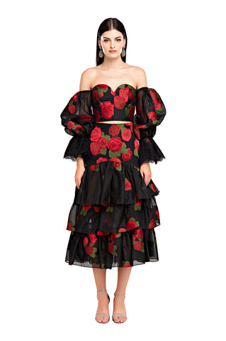 Black Roses Ruffle Skirt