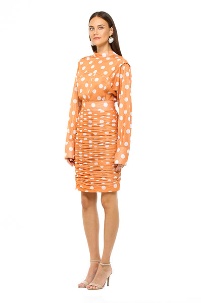 Orange Polka Ruched Skirt