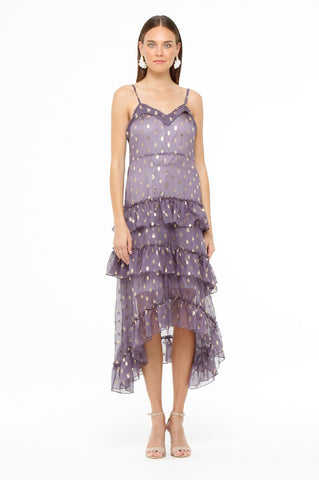 Purple Polka Ruffle Dress
