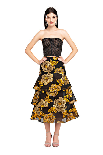 Yellow Roses Ruffle Skirt