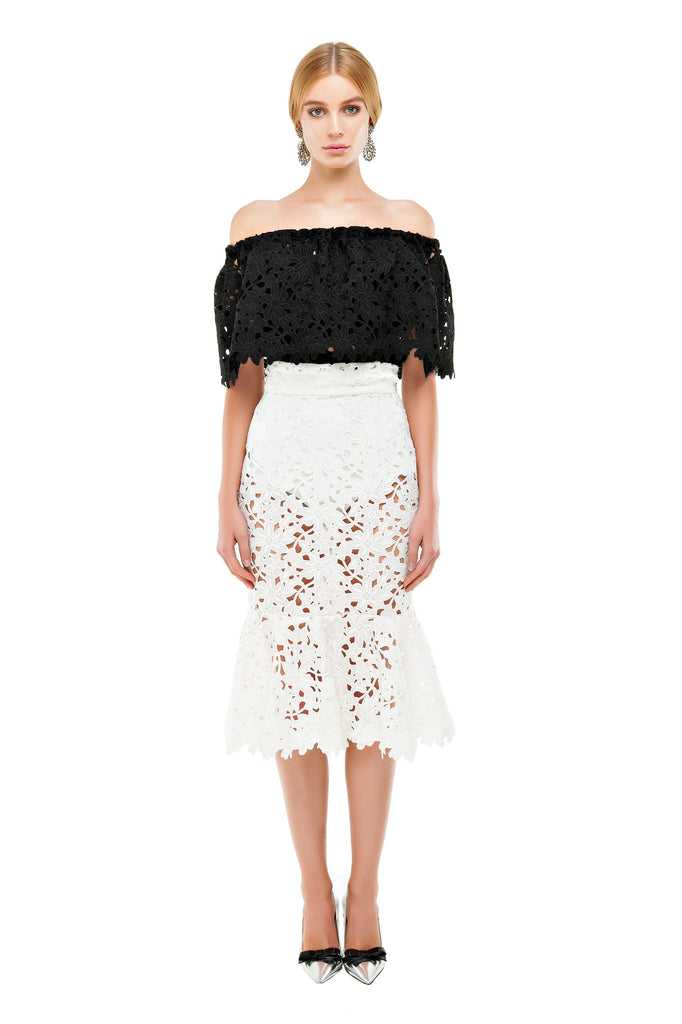 White Lace Mermaid Skirt