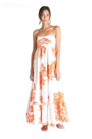 Orange Floral Tea Dress