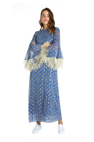 Blue Feather Kaftan