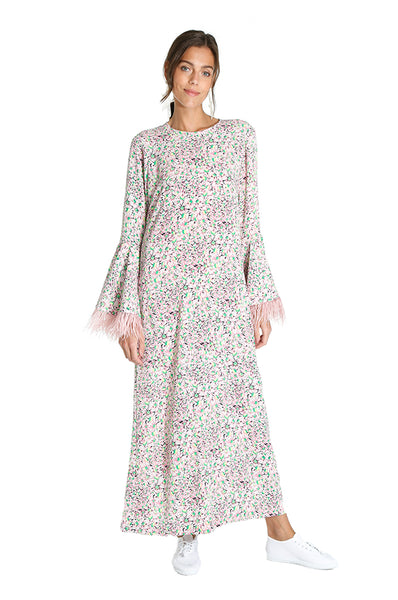 Pink Floral Feather Kaftan
