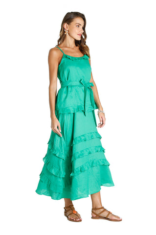 Green Linen Ruffle Dress