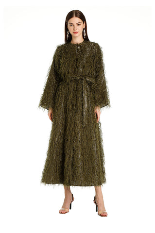 Olive Feather Kaftan