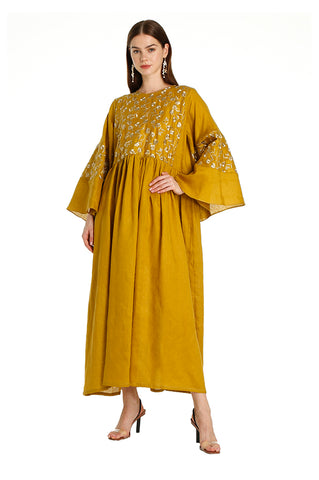Mustard Lilly Embroidered Kaftan