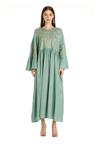 Teal Lilly Embroidered Kaftan