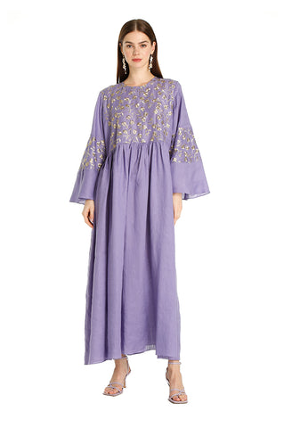 Purple Lilly Embroidered Kaftan