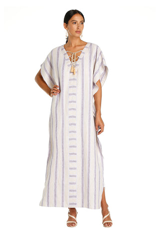 Purple Striped Sleima Kaftan