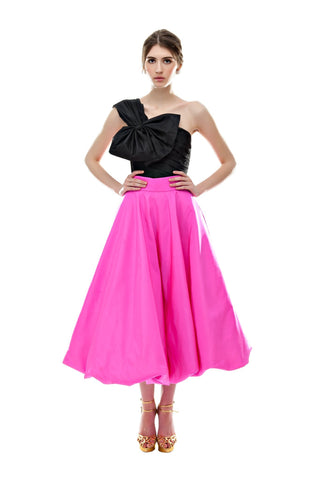Fuchsia Silk Bubble Skirt