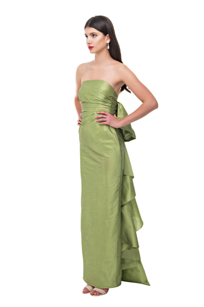 Olive Back Bow Pencil Gown