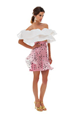 Pink Polka Mini Ruffle Skirt