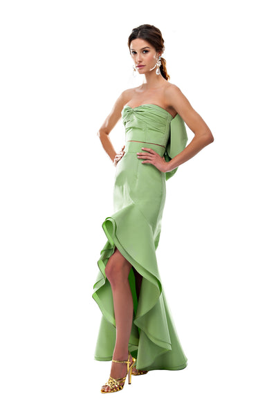 Green Silk Back Bow Bustier