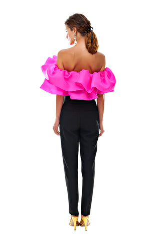 Fuschia Double Ruffle Top