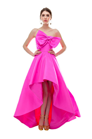 Fuchsia Silk Long Back Gown