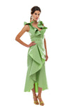 Green Faille Flamenco Skirt