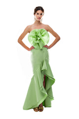 Green Front Flamenco Skirt
