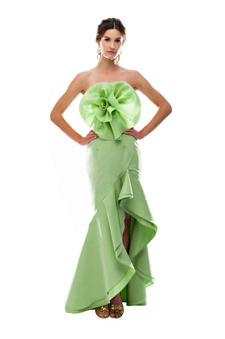 Green Organza Flower Tube