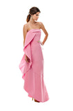 Pink Flamenco Side Ruffle Gown