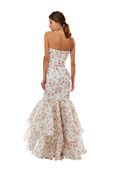 Rose Bud Silk Mermaid Ruffle Gown