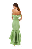 Green Faille Double Ruffle Gown